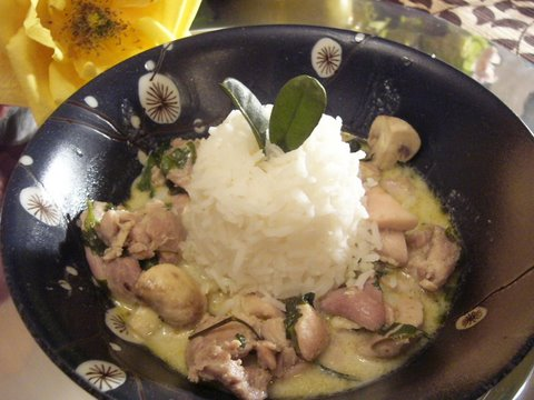 Tender chicken and mushrooms surround an island of Jasmine Rice