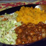 Indian Menu of Chana Masala Cabbage Sabzi Butternut Puree